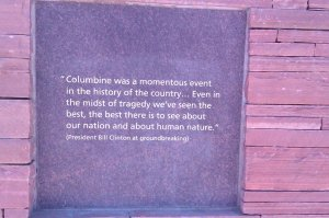This photograph was taken at the Columbine Memorial Site, behind the High School in Littleton, Colorado.